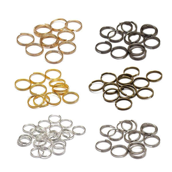 200pcs/lot 5 6 7 8 10 12 14 mm Open Jump Rings Double Loops Gold Color Split Rings Connectors For Jewelry Making