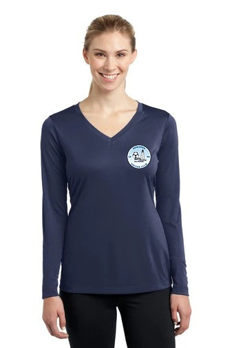 Ladies Long Sleeve PosiCharge Competitor V-Neck Tee (Performance)
