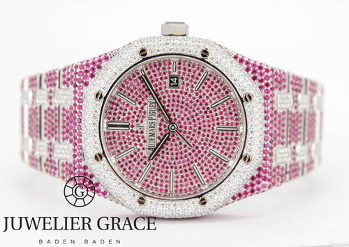 Audemars Piguet 41MM Royal Oak Selfwinding PINK SAPHIRE DIAMONDS ICED OUT