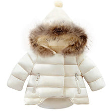 Load image into Gallery viewer, Baby Fur Hood Padded Coat