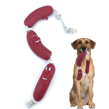 Load image into Gallery viewer, Rubber Red Sausage Rope Toy