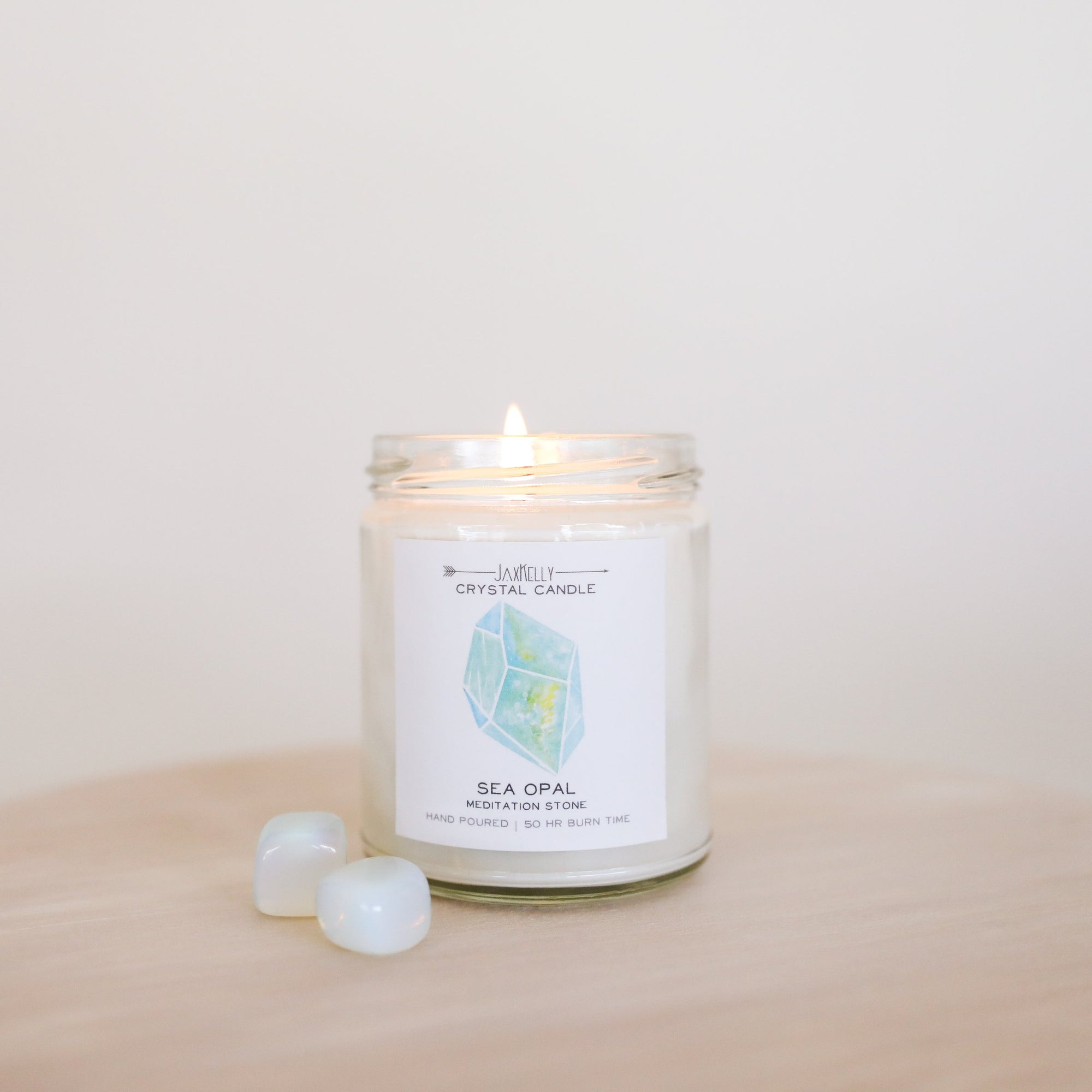 Sea Opal Crystal Candle - Meditation - devinewellness
