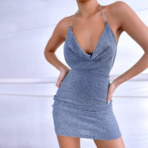 2021 Summer Women Backless Halter Mini Dress