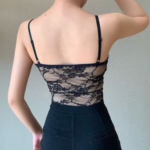 Spaghetti Strap Push Up Women Sexy Lace Bodysuit