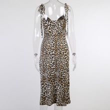 Load image into Gallery viewer, Office Lady Party Slit Long Leopard Print Dress