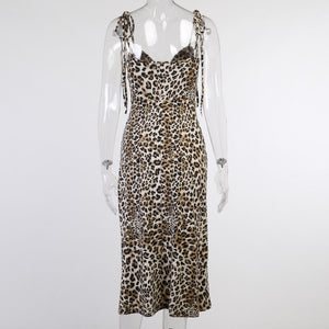 Office Lady Party Slit Long Leopard Print Dress