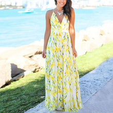 Load image into Gallery viewer, 2021 Sexy Backless Print Flower Beach Maxi Dress