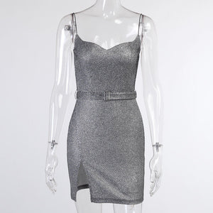 2021 Spring Women Sleeveless Bling Bodycon Dress