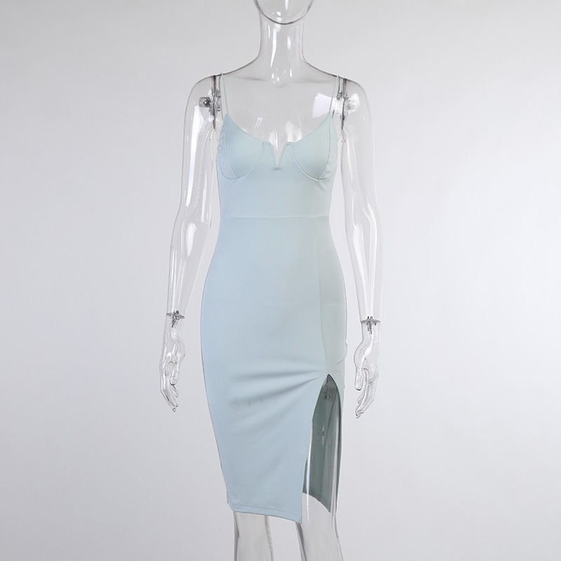 Light Blue Spaghetti Strap Split Sexy Bodycon Dress