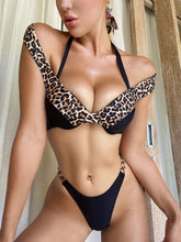 Load image into Gallery viewer, Off The Shoulder Patchwork Leopard Print Bikini