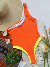 Load image into Gallery viewer, One Shoulder Hollow Out Patchwork Orange Swimsuit