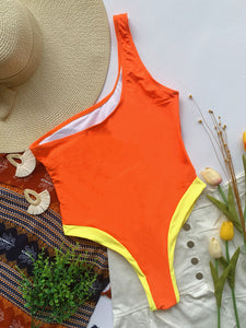 One Shoulder Hollow Out Patchwork Orange Swimsuit