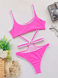 Women Fashion Bordered Push Up One Piece Swimsuit