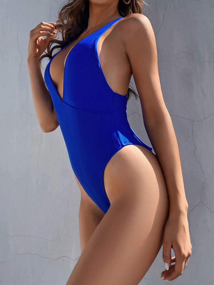 Deep V Neck Stripe Women Sexy Swimwear