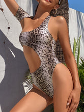Load image into Gallery viewer, Asymmetrical Hollow Out One Piece Snakeskin Swimsuit