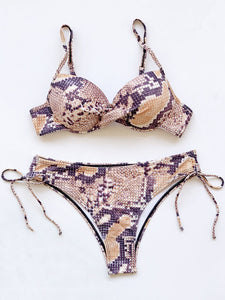 2021 New Coming Push Up Snakeskin Bathing Suit