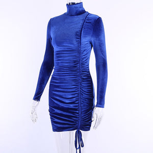 Drawstring Full Sleeve Tight Velvet Mini Dress