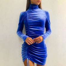 Load image into Gallery viewer, Drawstring Full Sleeve Tight Velvet Mini Dress