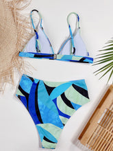 Load image into Gallery viewer, Brand Style Print Blue Colorblock Grils Bikinis