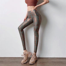 Load image into Gallery viewer, Trendy Bronzing Women Gym Snakeskin Yoga Pants