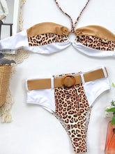 Load image into Gallery viewer, Contrast Color Leopard Printed Halter Neck Bikini
