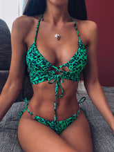 Load image into Gallery viewer, Two Pieces Bandage Leopard Halter Top Bikini