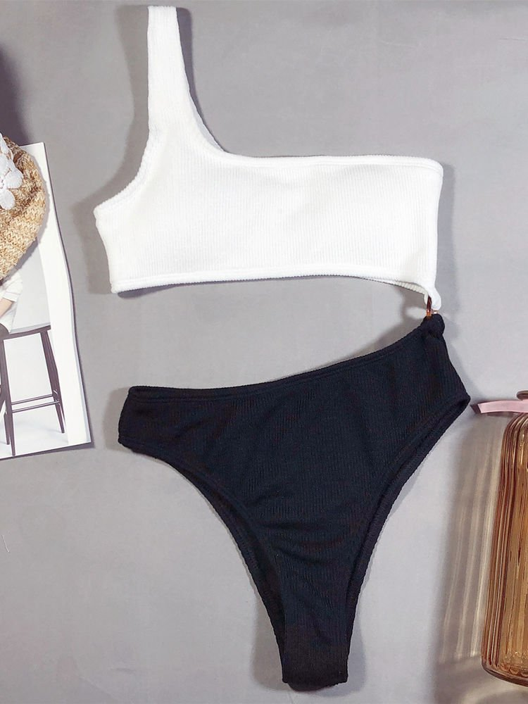 One Shoulder Black and White One Piece Swinsuit