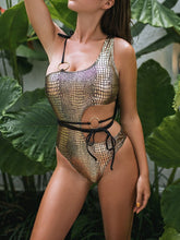 Load image into Gallery viewer, Best Snakeskin One Shoulder One Piece Swinsuit