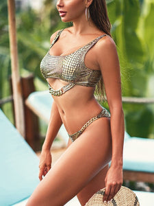 Modest Style Two Pieces Snakeskin Bathing Suits