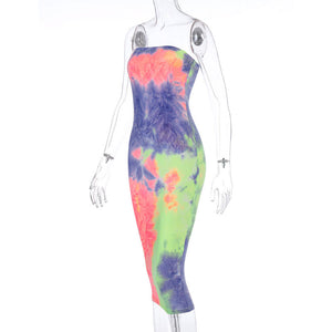 2021 Summer Rainbow Printed Strapless Maxi Dress