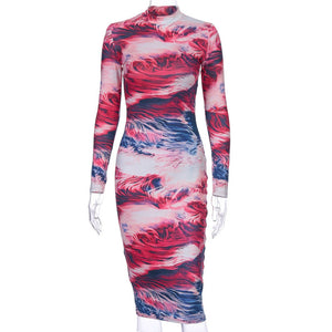 Wholesale Print Floral Women Party Full Sleeve Dress