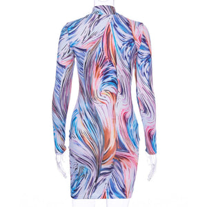 Hot Sell Girls Printed Colorful Bodycon Dress