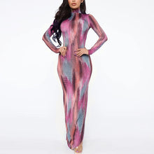 Load image into Gallery viewer, Big Brand Print Color Block Split Leg Maxi Dress