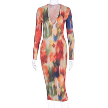 Load image into Gallery viewer, Printed Colorful Girls Long Sleeve Prom Dresses