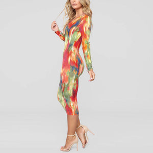 Printed Colorful Girls Long Sleeve Prom Dresses