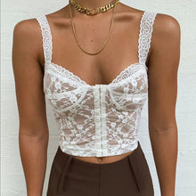 Load image into Gallery viewer, Buckle Front Sexy Women Mini Lace Crop Top