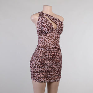 Sexy Leopard Mesh Hollow Out One Shoulder Mini Dress