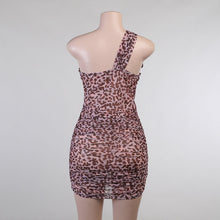 Load image into Gallery viewer, Sexy Leopard Mesh Hollow Out One Shoulder Mini Dress