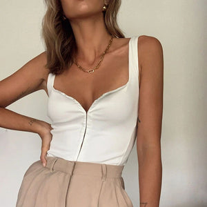 2021 Fashion Sleeveless Women Button Down Crop Top