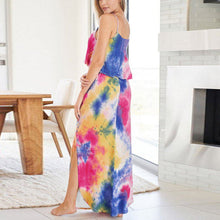 Load image into Gallery viewer, Summer Sleeveless Tie Dye Spaghetti Strap Maxi Dress
