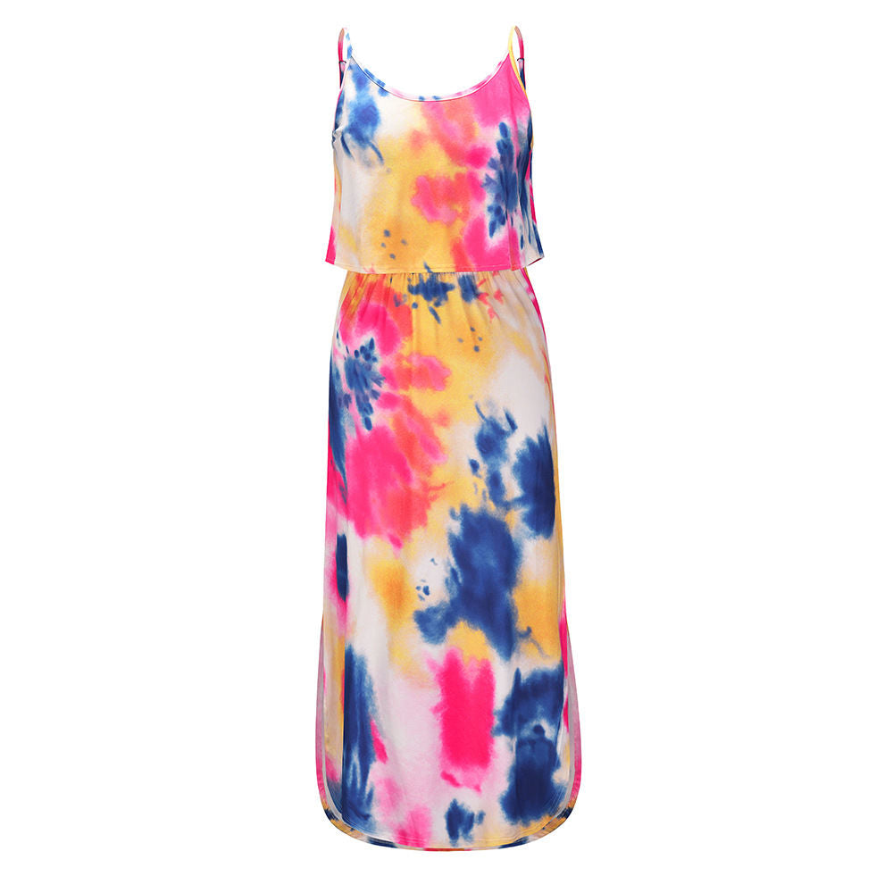 Summer Sleeveless Tie Dye Spaghetti Strap Maxi Dress