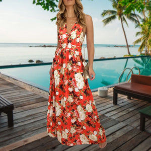 Sexy Women Evening Party Print Floral Maxi Dress