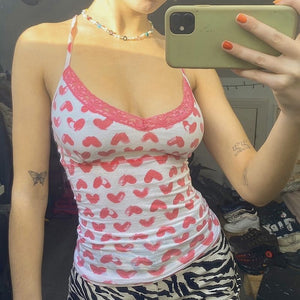 Lovely Print Pink Sleeveless Tank Top For Grils