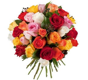 Bouquet de 35 roses multicolores