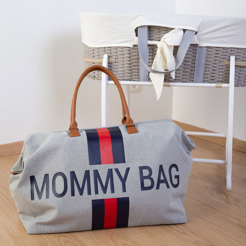MOMMY BAG GREY CANVAS WITH BLUE AND RED STRIPES