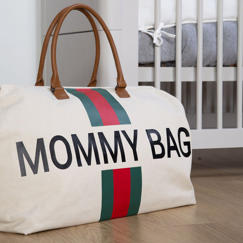 MOMMY BAG OFF-WHITE CANVAS WITH GREEN & RED STRIPES