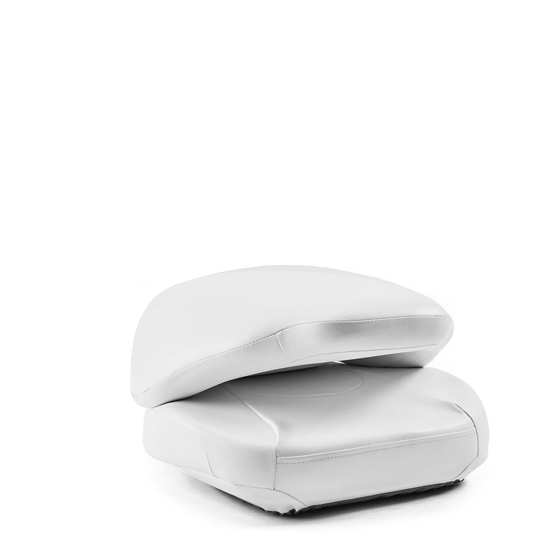 DeckMate High Back Sport Cushion Fishing Boat Seat White Marine Grade Vinyl for sale