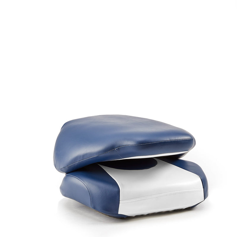 DeckMate High Back Sport Cushion Fishing Boat Seat White Blue Marine Grade Vinyl for sale