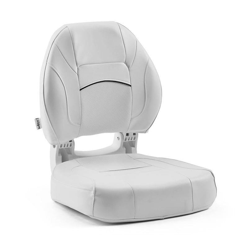DeckMate Economy Center Hinge Cushion Fishing Boat Seat White Marine Grade Vinyl for sale