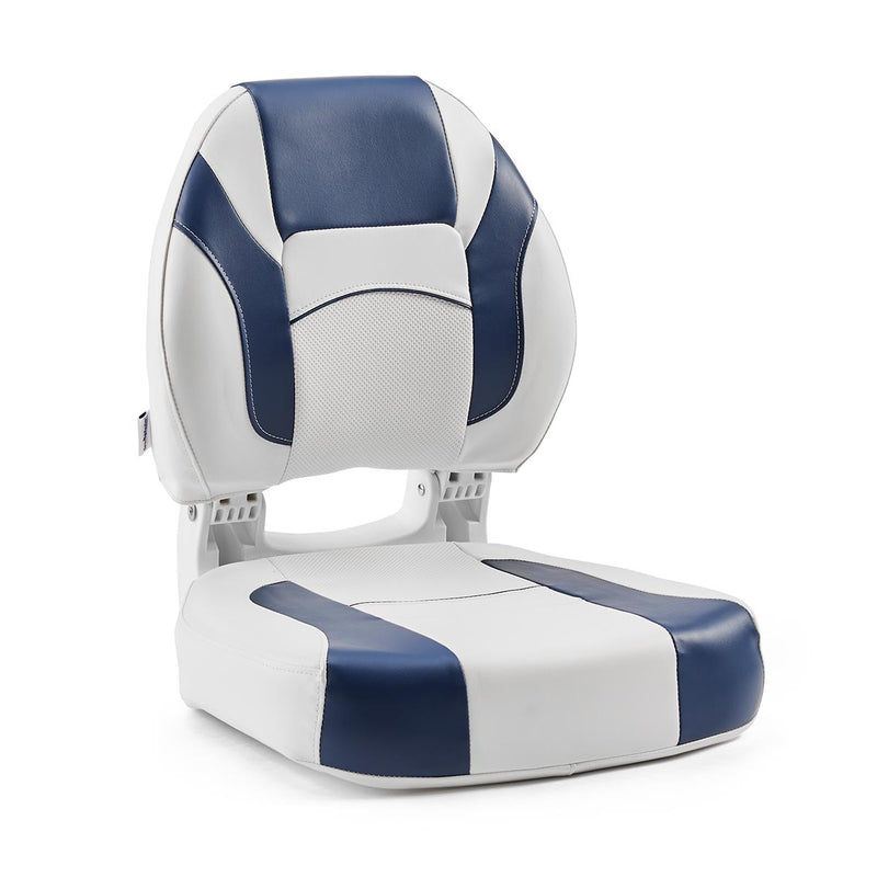 DeckMate Economy Center Hinge Cushion Fishing Boat Seat White Blue Marine Grade Vinyl for sale